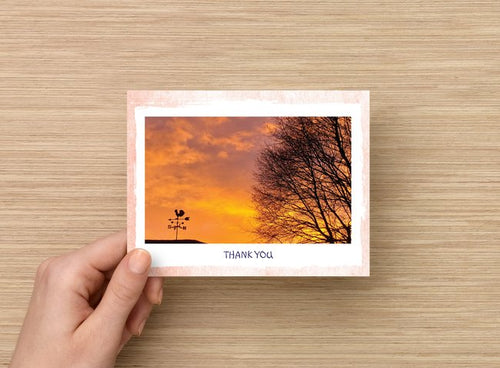 Thank you card - Weather vane and tree at sunset - 5 pack blank