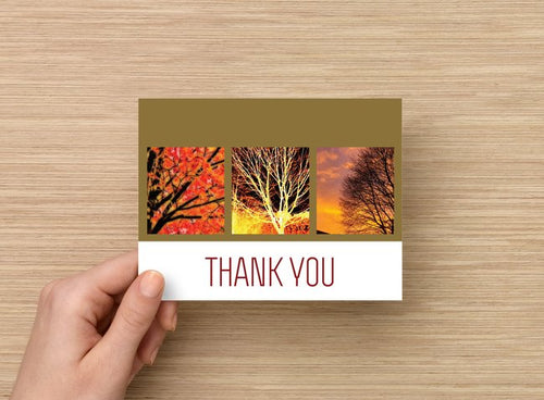 Thank you card - Trees - 5 pack - 4 x 5 blank