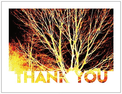 Tree in gold and browns thank-you card - 5 pack - 4 X 5 blank