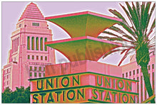 Load image into Gallery viewer, Union Station pillar with LA City Hall in background