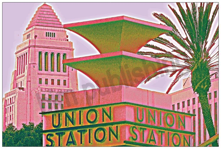 Union Station pillar with LA City Hall in background