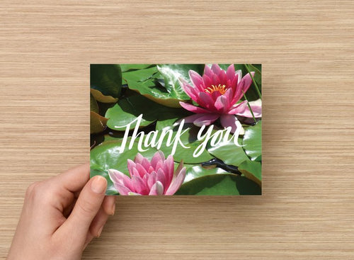 Thank you card - Waterlilies - 5 pack of same design - 4 x 5 blank inside