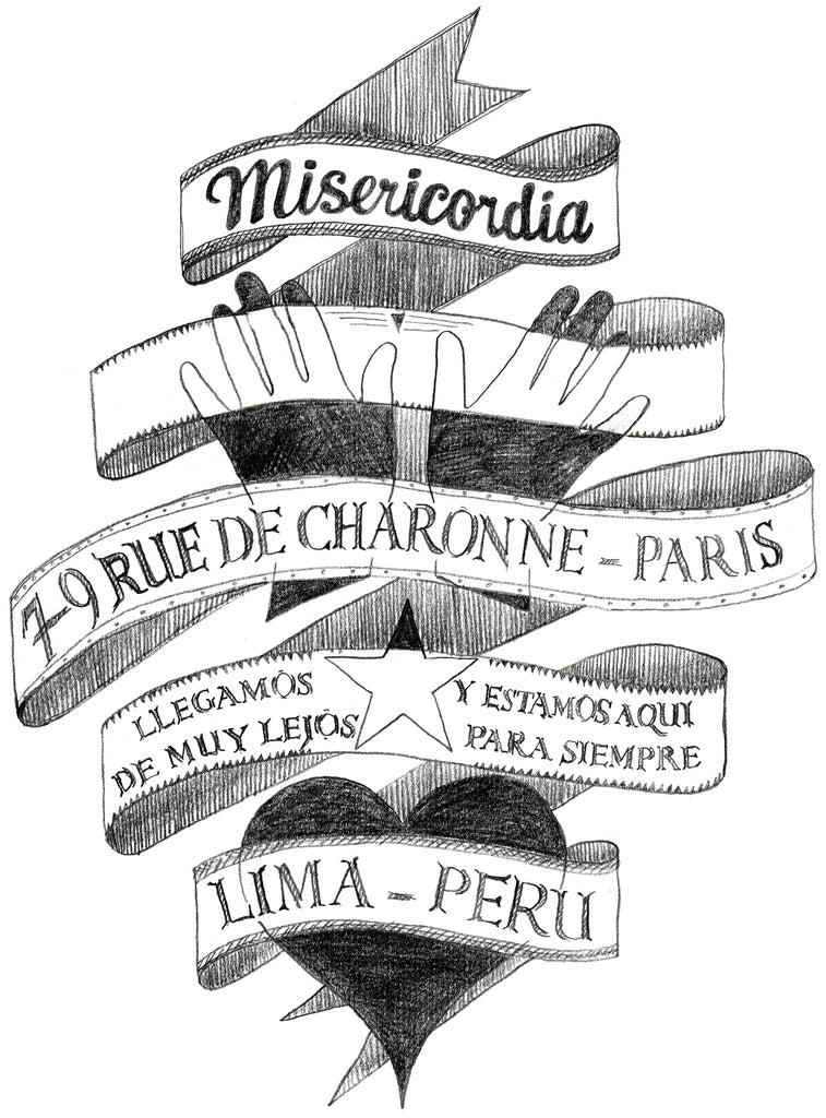 Dessin pour sérigraphie t-shirt collection Misericordia adresse boutique mode charonne paris bastille shopping best adresse
