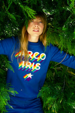 Sweat Shirt Macarrón Arco Iris Bleu saphir misericordia look underground courant de la mode panoplie de couleurs impression artistique