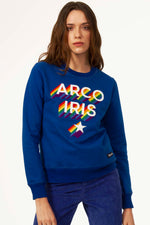 Sweat Shirt Macarrón Arco Iris Bleu saphir Sweat Shirt Femme Broderie unique message fort authentique fait-main local sweat chaud de qualité