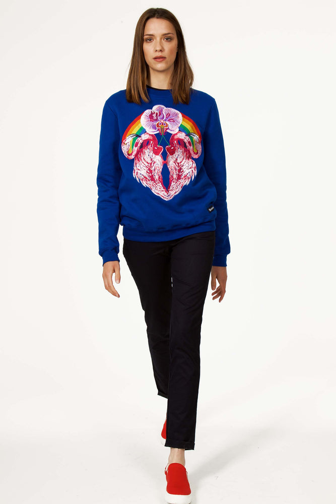 Sweatshirt Macarrón Flamingo Bleu saphir Sweat Shirt Femme Broderie unique message fort authentique fait-main local sweat chaud de qualité