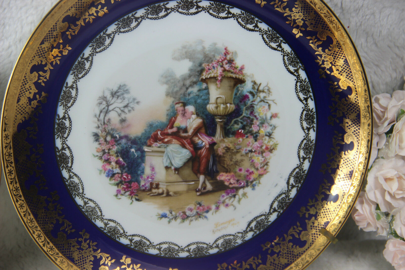 French vintage old porcelain plate with romantic scene