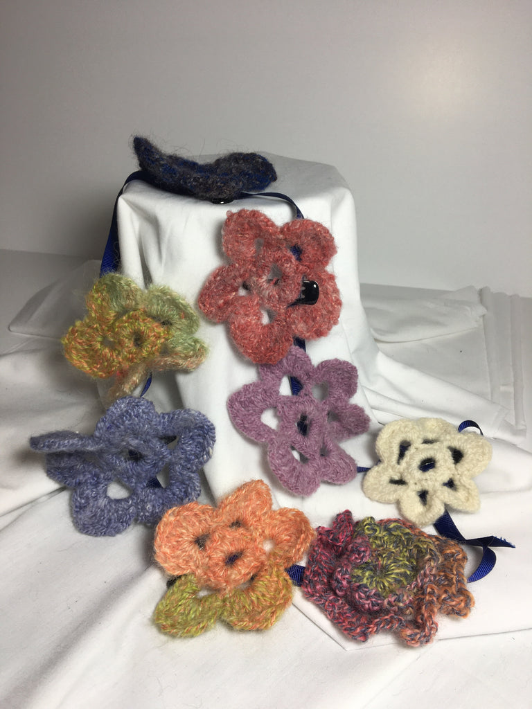 Hand crocheted flower hair barrettes