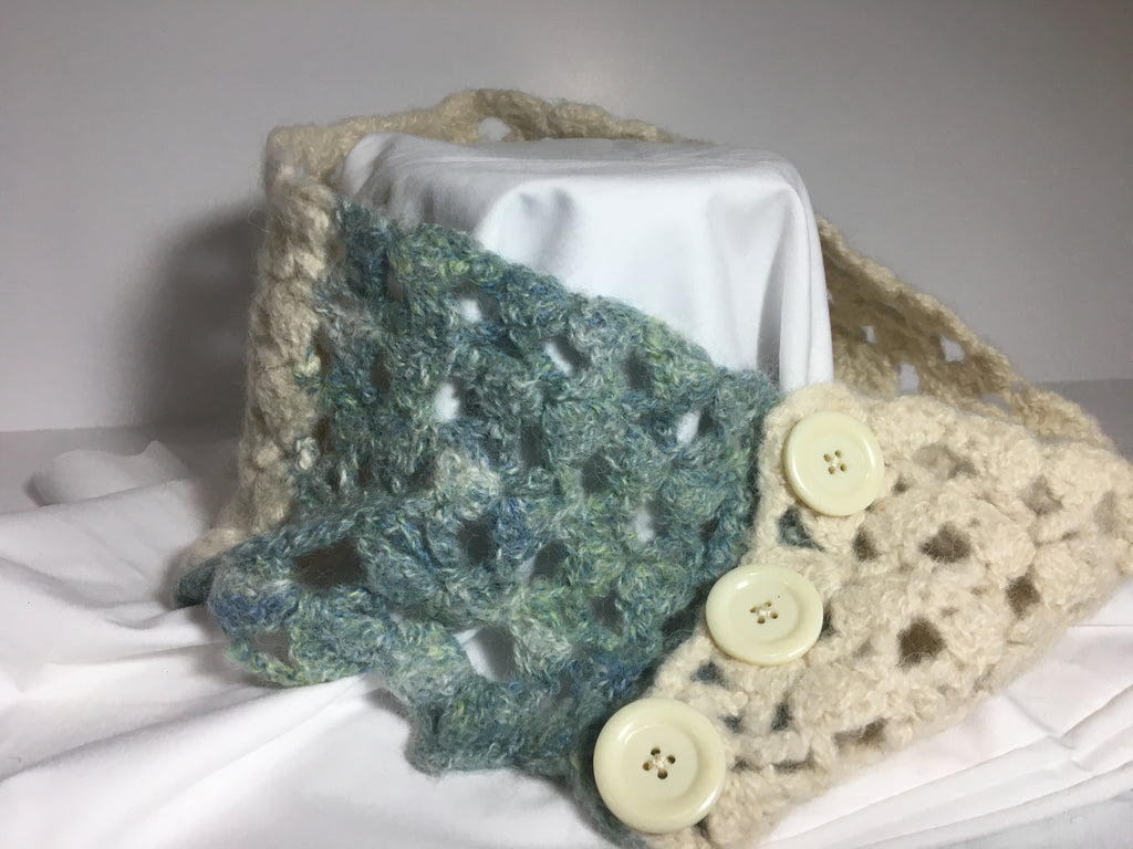 Hand crocheted Wool scarf