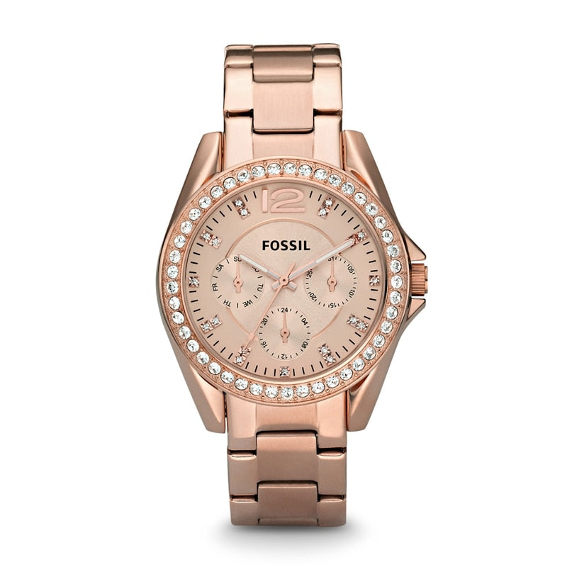 Fossil Watch Women Riley Multifunction Rose-Tone Stainless Steel Watch