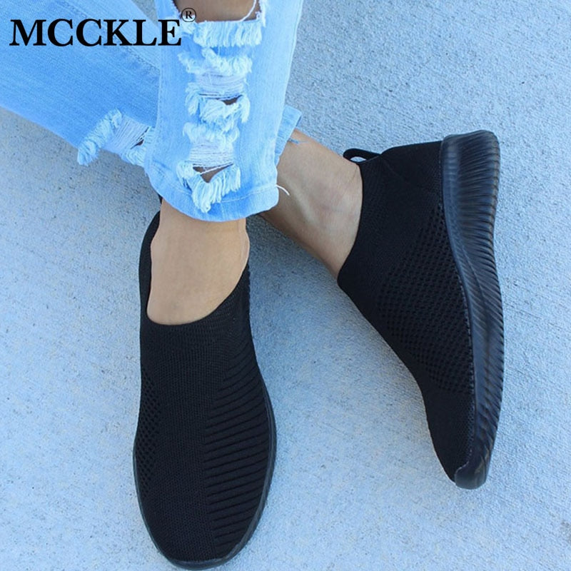 Spring Shoes Women Sneaker Air Mesh Soft Female Sock Knitted Vulcanized Shoes Casual Slip On Ladies Flat Women's Footwear
