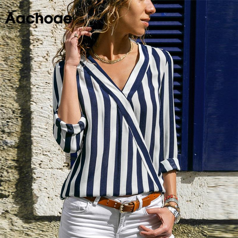 Women Striped Blouse Shirt Long Sleeve Blouse V-neck Shirts Casual