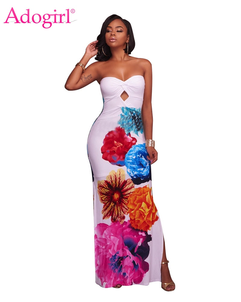 Flowers Print Strapless Maxi Dress Sweetheart
