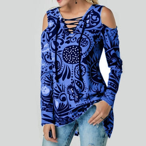 Punk Style Sexy Off Shoulder Skull Printed Womens Blouses