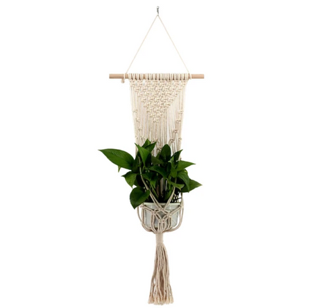 How to make your living room more cosy 10 ideas, go for warmer tones, macrame handmade woven wall art plant pot hanging holder