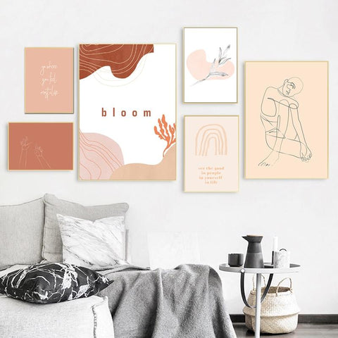 How to make your living room more cosy 10 ideas, go for warmer tones, minimal warm mix & match wall art painting