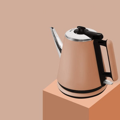 Stainless steel Retro style classic electric kettle featuring stylish long spout mouth