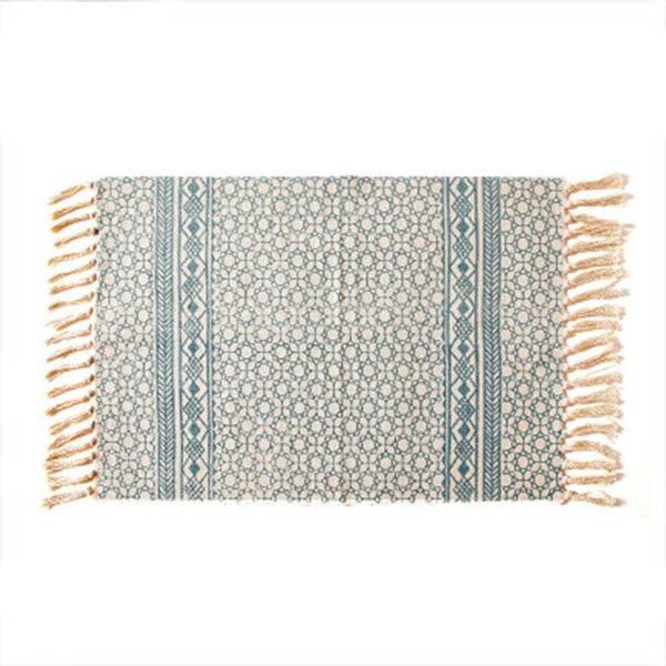 lea tibetan woven accent rug - foam blue - Good Joan Home