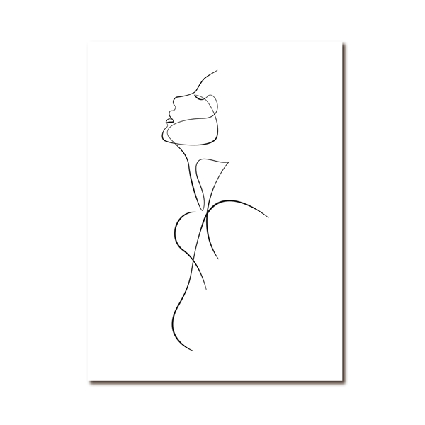 abstract one line drawing on cotton canvas - Good Joan Home