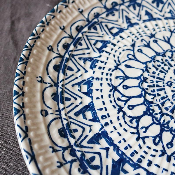 tana tile inspired blue and white ceramic plate - Good Joan Home