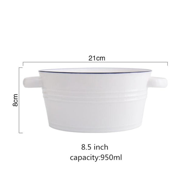 billie blue line white ceramic serving bowl - Good Joan Home