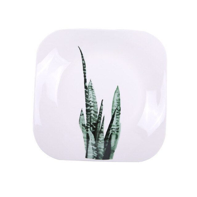 leaf watercolour ceramic square plate - Good Joan Home