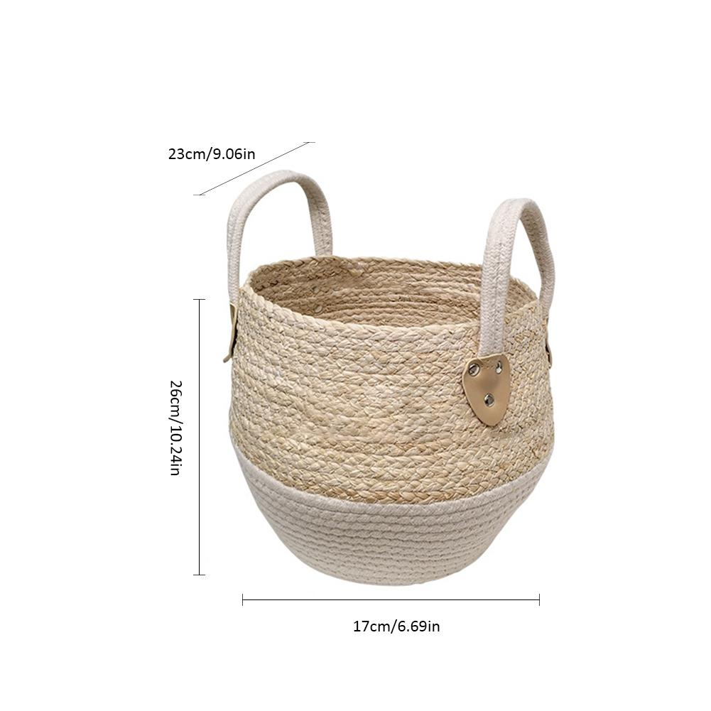 freddie painted woven cotton rope storage basket - Good Joan Home
