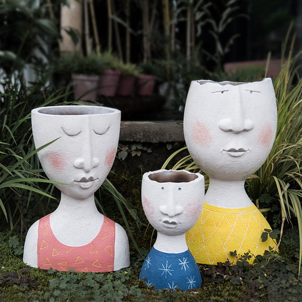 creative family resin plant pot - Good Joan Home
