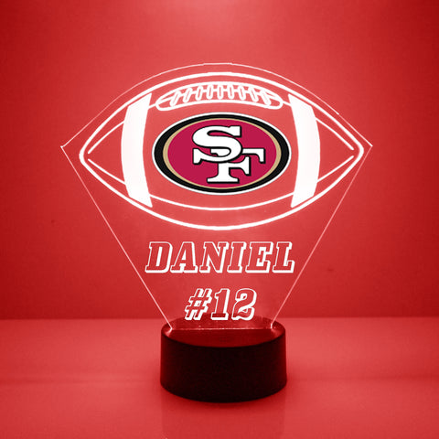 San Francisco 49ers Football LED Sports Fan Lamp, Custom Night Light, Free Personalization, 16 Color Option, Featuring Licensed Decal