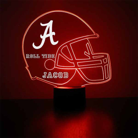 Alabama Crimson Tide Helmet LED Sports Fan Lamp, Custom Night Light, Free Personalization, 16 Color Option, Featuring Licensed Decal