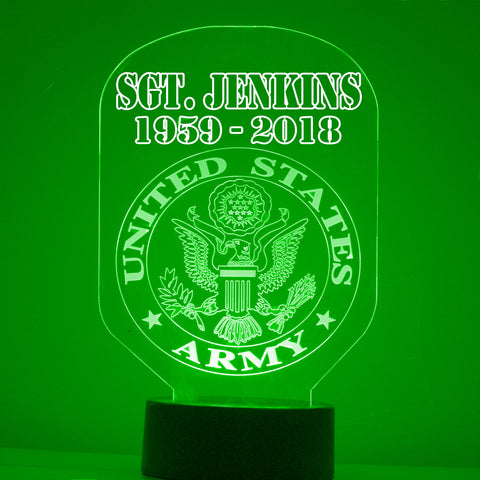 Army Night Light, Personalized Free, LED Night Lamp, With Remote Control, Engraved Gift, 16 Color Change