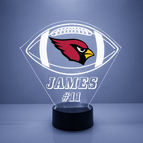 Arizona Cardinals Football LED Sports Fan Lamp, Custom Night Light, Free Personalization, 16 Color Option, Featuring Licensed Decal