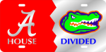 House Divided Alabama - Florida License Plate ---- Mirrored Auto Tags ---- Collegiate
