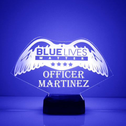 Blue Lives Matter, Police Department Night Light, Personalized Free, LED Night Lamp, With Remote Control, Engraved Gift, 16 Color Change,
