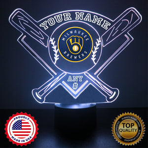 Milwaukee Brewers Baseball LED Light Sports Sign