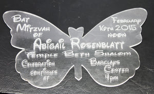 Butterfly Invitation -- Custom Party Invitations -- Bar/Bat Mitzvah