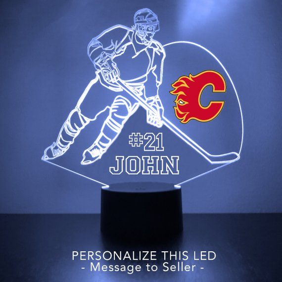 Calgary Hockey Player LED Night Light Flames
