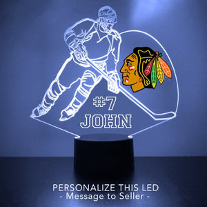 Chicago Blackhawks Hockey Player LED Sports Sign