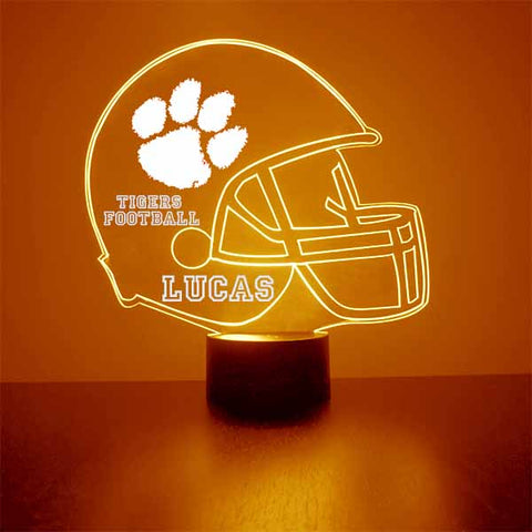Clemson University Football LED Sports Fan Lamp, Custom Night Light, Free Personalization, 16 Color Option, Featuring Licensed Decal