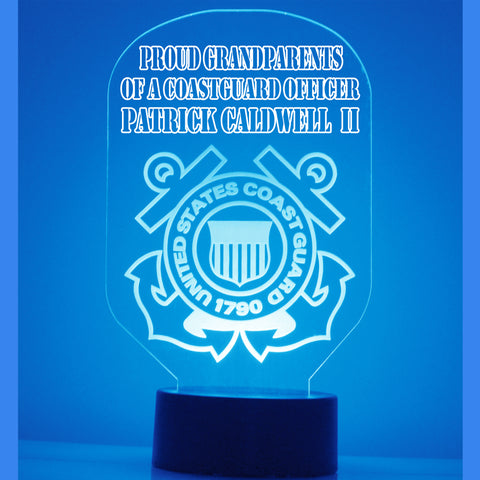 Coast Guard Night Light, Personalized Free, LED Night Lamp, With Remote Control, Engraved Gift, 16 Color Change