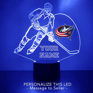 Columbus Blue Jackets Hockey Player LED Sports Sign
