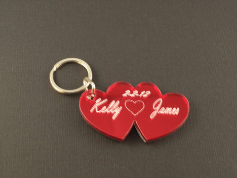 Small Double Heart Key Chain