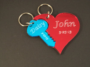 Large Heart and Key Key Chain