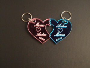 Small Double Heart Split Key Chain