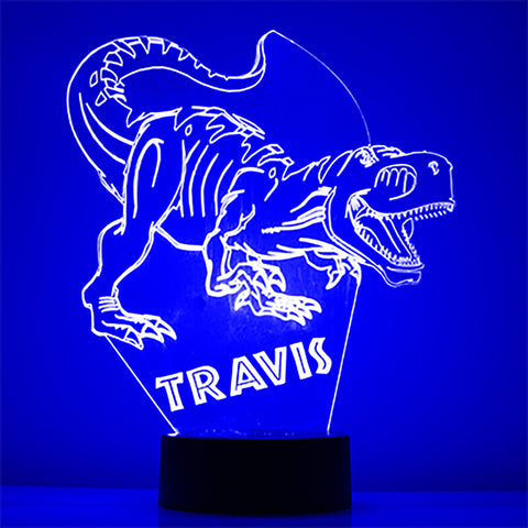 Dinosaur Night Light, Personalized Free, LED Night Lamp, With Remote Control, Engraved Gift, 16 Color Change