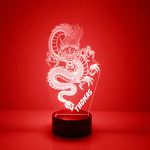Dragon Night Light, Personalized Free, LED Night Lamp, With Remote Control, Engraved Gift, 16 Color Change