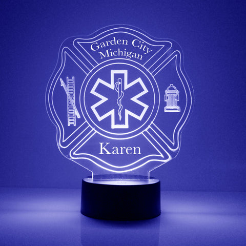 EMT Fire Department Night Light, Personalized Free, LED Night Lamp, With Remote Control, Engraved Gift, 16 Color Change
