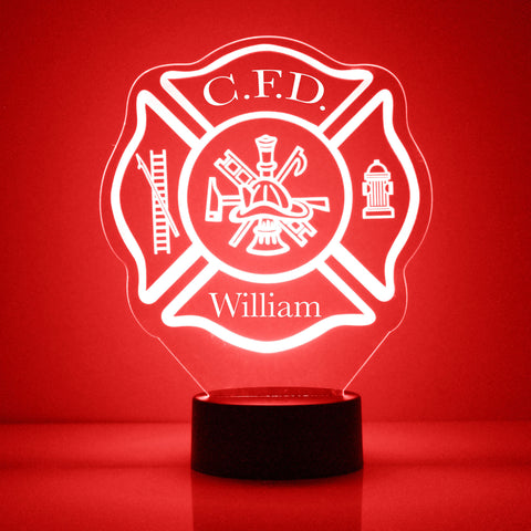 Maltese Cross, Fire Department  Night Light, Personalized Free, LED Night Lamp, With Remote Control, Engraved Gift, 16 Color Change