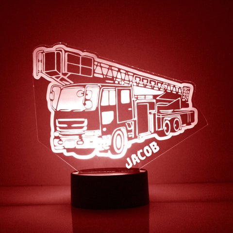 Fire Truck Night Light, Personalized Free, LED Night Lamp, With Remote Control, Engraved Gift, 16 Color Change