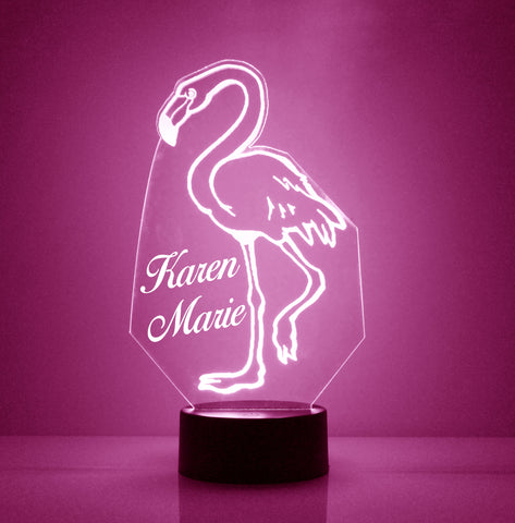 Flamingo Night Light, Personalized Free, LED Night Lamp, With Remote Control, Engraved Gift, 16 Color Change
